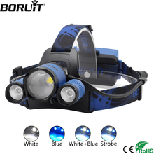 BORUiT B22 XM-L2 + XPE Blue Light LED Headlamp 4-Mode Zoom Headlight Rechargeable Power Bank Head Torch Hunting 18650 Flashlight boruit t6 4 q5 led motion sensor headlamp 60000lumens rechargeable headlamp 4 mode zoom head torch by 18650 battery flashlight
