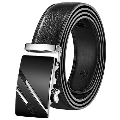 Men Belt Automatic Genuine Leather Luxury Black Belt Men's Belts Automatic Buckle High Quality Belt Cummerbunds Male