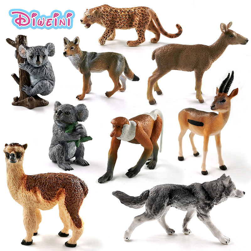 New Wolf Deer Leopard Alpaca Koala Antelope Proboscis Monkey Action Figure Plastic Animal Model Gift For Kids Educational Toys