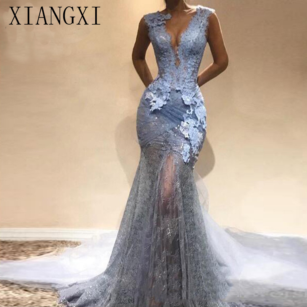 Abendkleider 2020 Dusty Blue Lace long Mermaid Prom Dresses Sexy Prom Gowns Formal Evening Party Dress V-neck Vestido De Festa