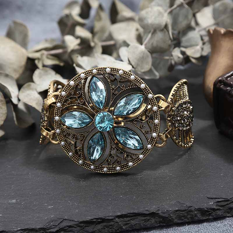 2019 Natural Charms Bracelets for Women Red Blue Crystal Boho Bracelets Vintage Bracelet Female Jewelry Wristband Gift in Charm Bracelets from Jewelry Accessories