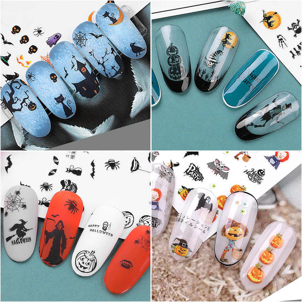 1 Stuks Nail Stickers Nail Art Decals Halloween Ontwerp Clown Tattoo Sliders Halloween Gift Accessoires Voor Nail Art Beauty Tools