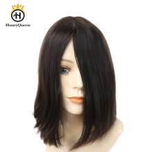Jewish Wigs European Remy Hair With Baby Hair 4# Color Kosher Wig Straight Human Hair Wigs Silk Top Pre Colored Honey Queen(China)
