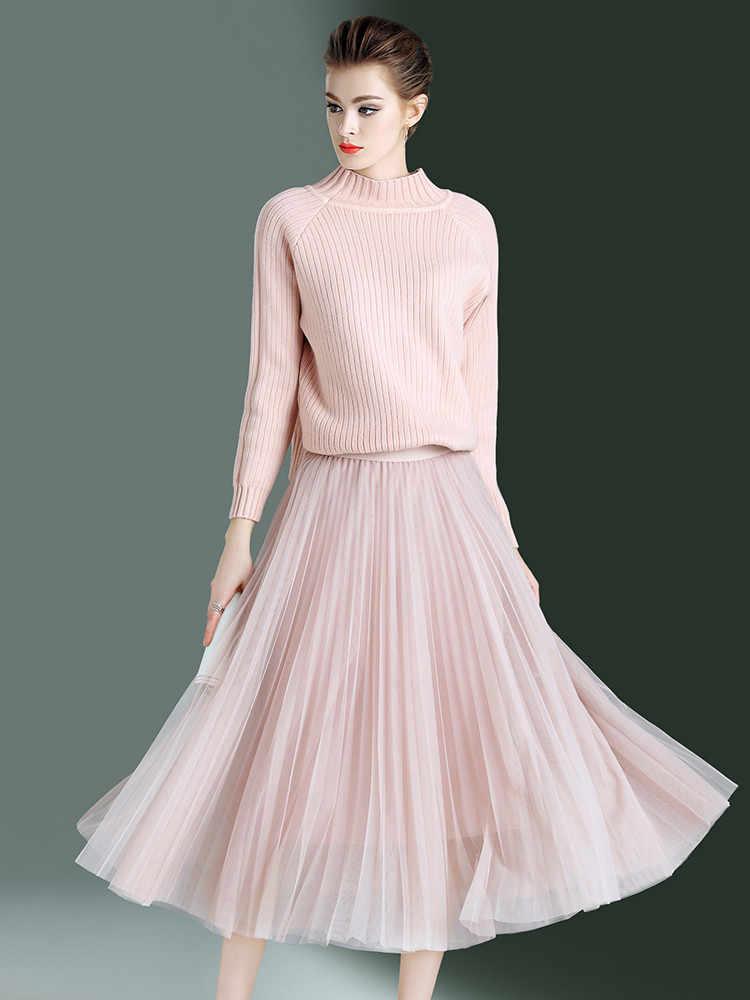 2 ชิ้นชุดชุดสตรีฤดูใบไม้ผลิฤดูใบไม้ร่วง 2020 VINTAGE Elegant เสื้อกันหนาวกระโปรงยาวผู้หญิงเกาหลีสีชมพูตาข่ายกระโปรง Vestidos MY2332