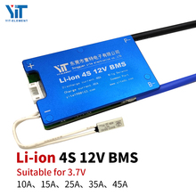 Placa de proteção de bateria de lítio 4S 12v, placa de proteção de temperatura equalização, proteção contra sobrecorrente bms pcb, 3.7