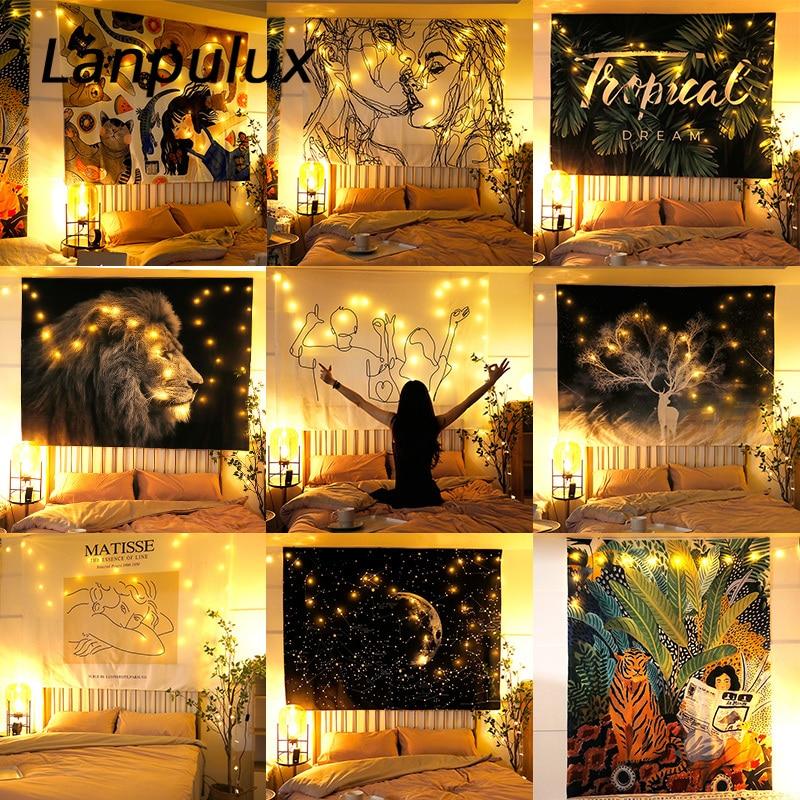Lanpulux Planetary Backdrop Night Light Star Hanging Cloth Girl Bedroom Romantic Starry Sky Planisphere Ins Decoration Lamp