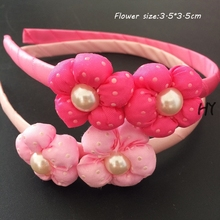 1 Pcs/lot Beauty Flower Hair Bands Women Pearl Accessory Fabric Floral Girls Ornaments
