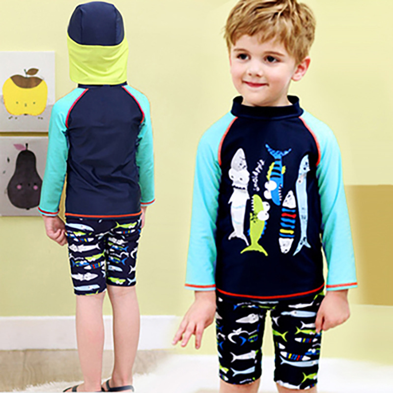 KID'S Swimwear Medium-small Boy BOY'S Long Sleeve Warm Sun-resistant Split Type Boxer With Beach Sun Protection Hat Tour Bathing
