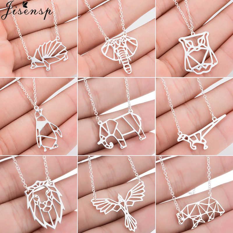 Jisensp Origami Colar Pequeno Animal de Aço Inoxidável Pingente Colares para As Mulheres Jóias Urso Bonito Elefante Colar Collier