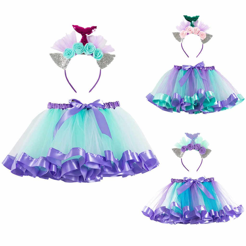 プリンセスチュチュスカート女の赤ちゃんの夏服虹の子供たちパーティー子供のためのカラフルなミニペチコート