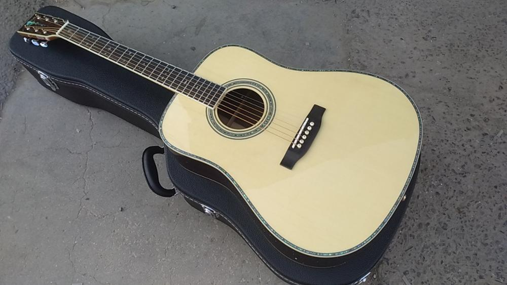 free shipping AAA all solid nature color Nitro finished one piece neck custom dreadnought D style acoustic electric guitar