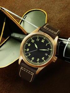 Men's Watch Mechanical Pilot Bronze Waterproof Strap San Luminous