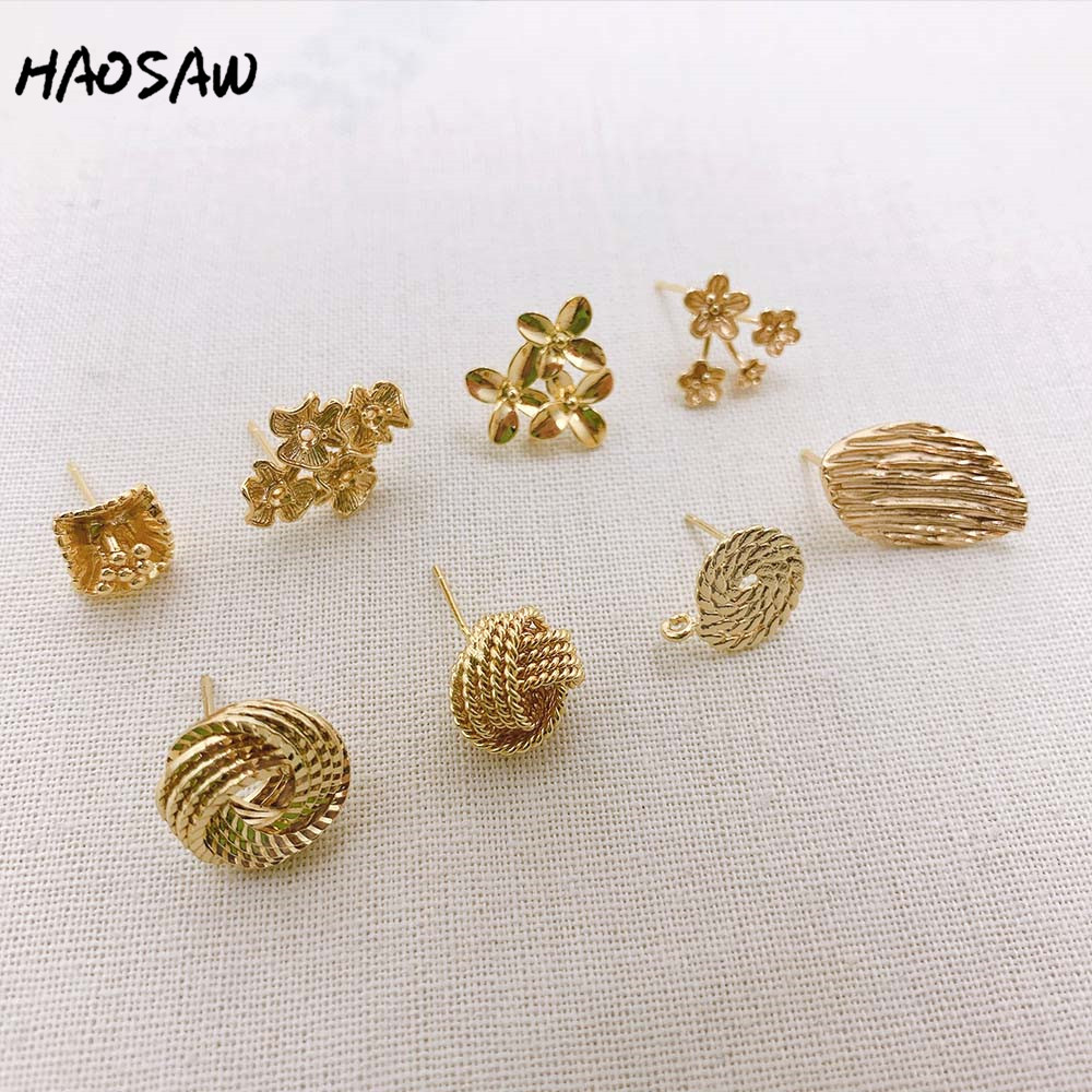HAOSAW Choose 4Pcs/Lot Earrings Stud/Wire Draw/Flower Post/DIY Jewelry Making/Genuine Gold Plating/Hand Made Earring Findings