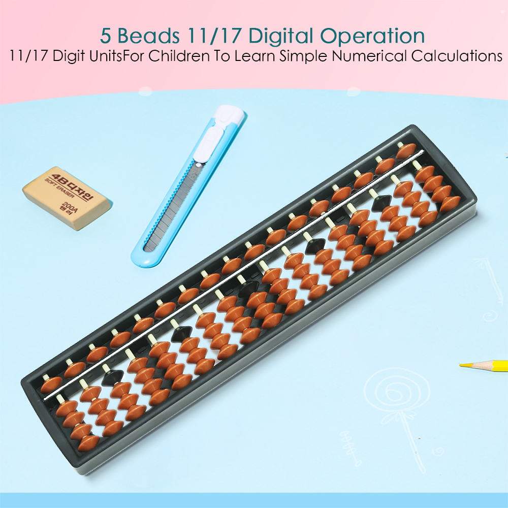 11/17 Digits Abacus Soroban Beads Column Kids Calculation School Learning Aids Tool Math Business Chinese Traditional Abacus