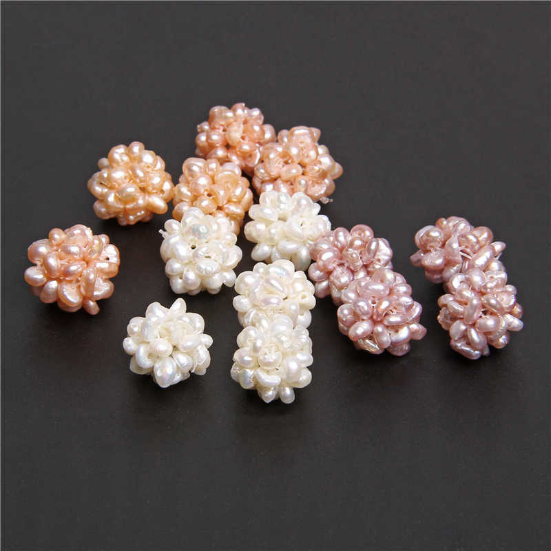 2pcs Natural Freshwater Pearls Flower Ball Cultured Baroque White Handmade Pearls Beads Charm For Jewelry Making Accessries