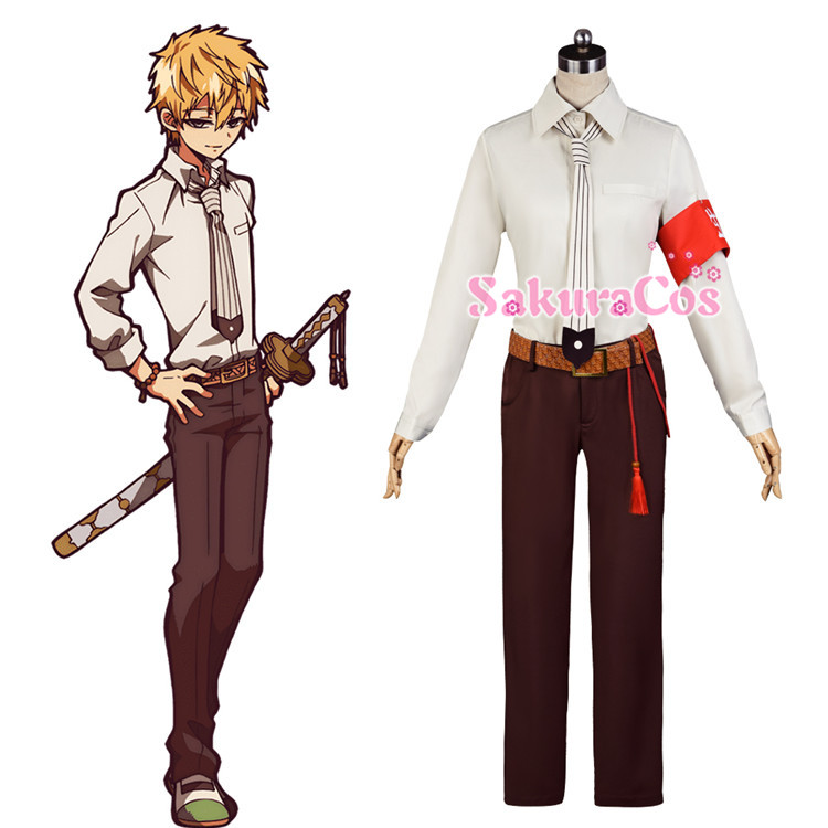 Anime Toilet-Bound Hanako-kun YuanHui Daily Uniform Shirt + trousers + belt + tie+ACC Cosplay Costume Halloween Free Shipping.