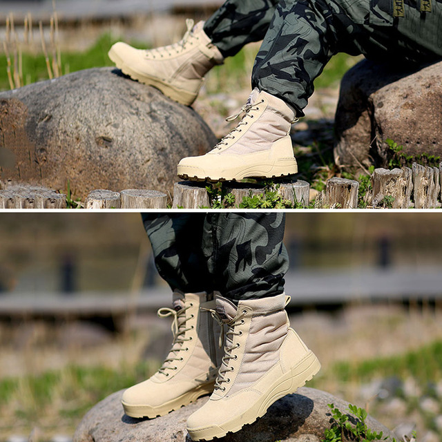 Men Outdoor Military Tactical Combat Boots Breathable Oxford Wear Resistant Waterproof Boot Non-Slip Desert Climbing Sports Shoe 5