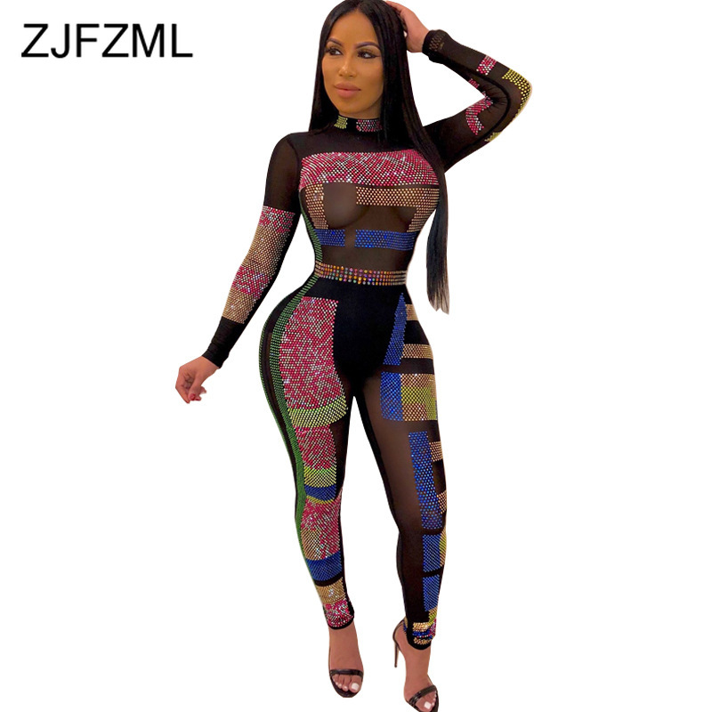 Colorful Rhinestone Sexy Bodycon Jumpsuit Women Turtleneck Long Sleeve Party Bodysuit Casual Mesh See Through Pencil Long Romper