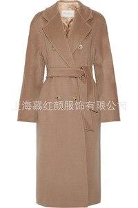 Image 4 - Double Breasted Elegante Longo Casaco De Lã Mistura Casaco de Lã Sólida Fino e Jaqueta Do Vintage Longo Das Mulheres Casacos de Inverno Outono