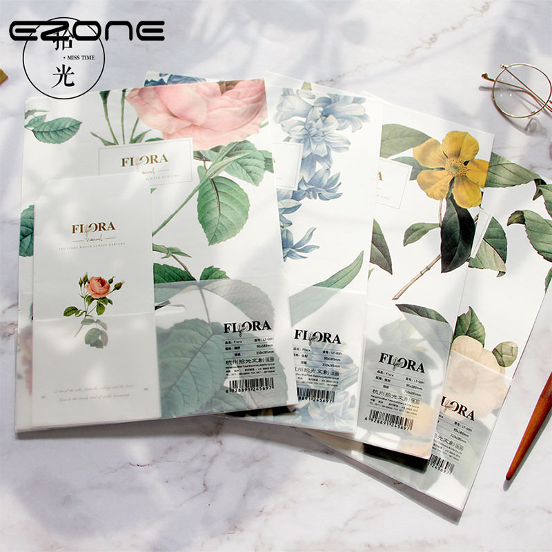 EZONE Letter Paper+Envelope Sets Vegetable Parchment Paper Line Page Writing Paper Fresh Flowers Pattern School Office Supply