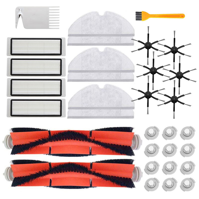 Filters+Roller Brushes+ Brush Water Cores Fit For XIAOMI Mijia/ Roborock Robot S50 S51 S55 S6 Vacuum Cleaner Parts Accessories