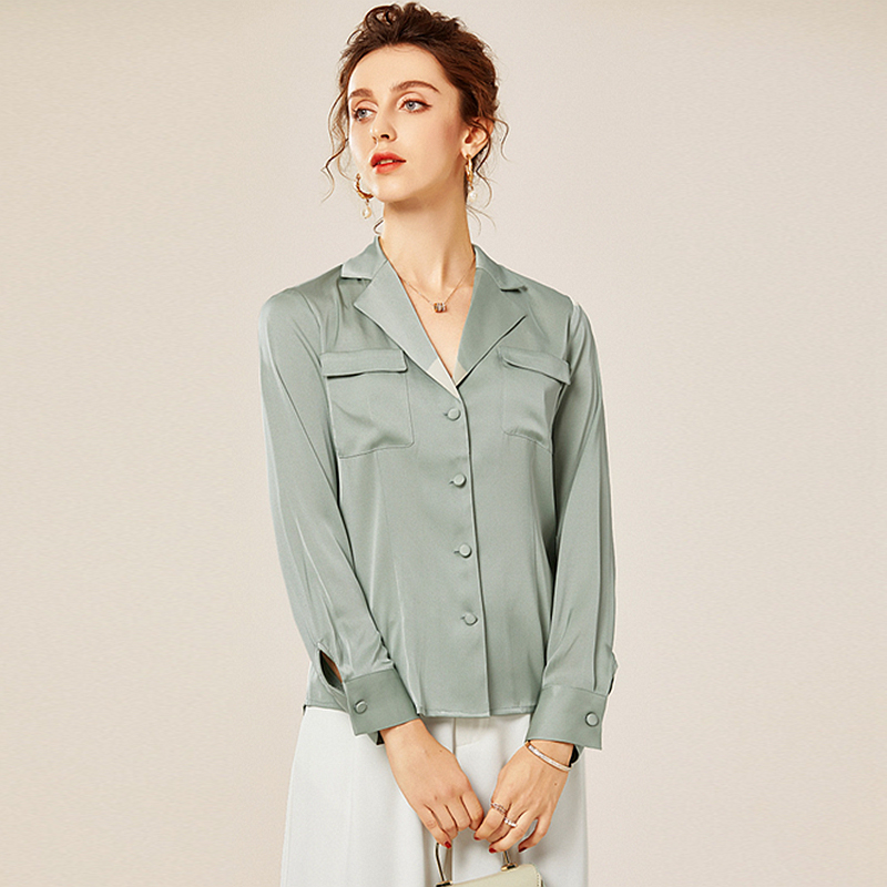 100% Silk Blouse Women Shirt Casual Style Turn down Neck Long Sleeve Solid Youth Style Office Top New Fashion