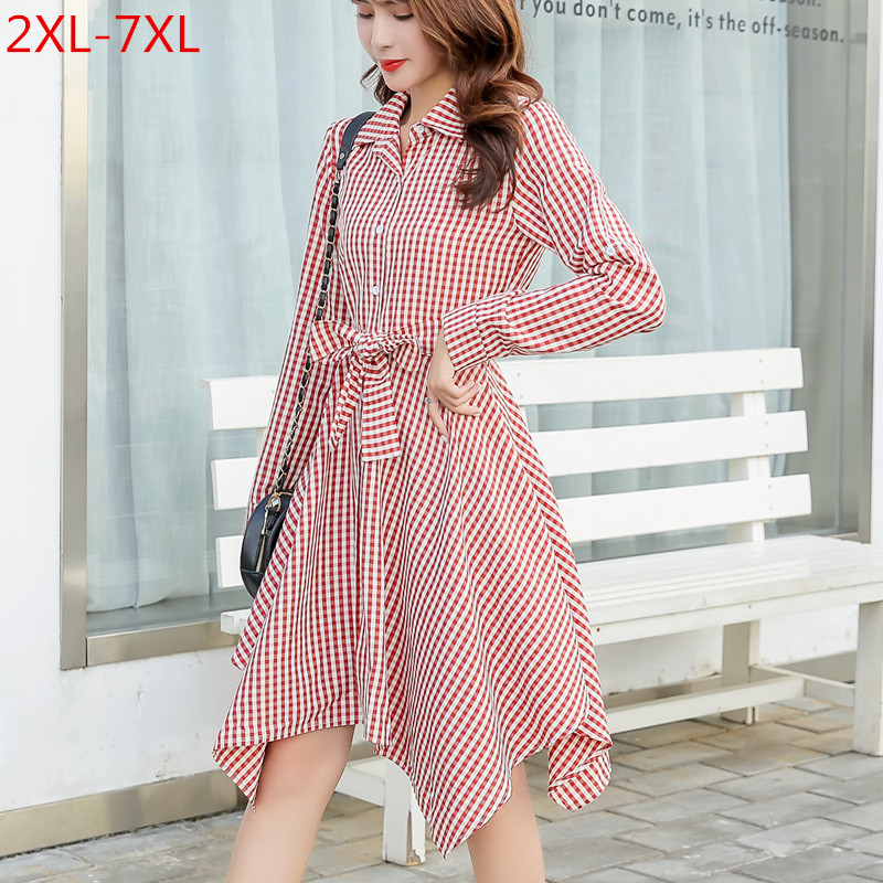 <font><b>Plus</b></font> <font><b>Size</b></font> <font><b>7XL</b></font> Spring Clothing 2020 Fashionable New Long Sleeve Shirt <font><b>Dress</b></font> High Quality Korean Retro Plaid Women's <font><b>Dresses</b></font> LZ287 image