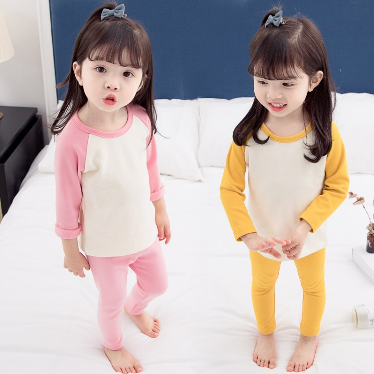 2018 Autumn Female Baby Solid Color Sweet Pajamas Suit Children Cotton Long Sleeve Pajamas Fashion