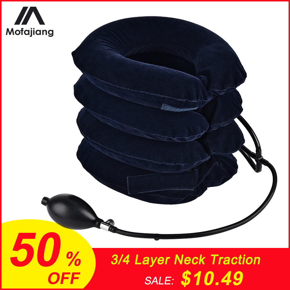 4 Layer Inflatable Air Cervical Neck Traction Device Soft Neck Collar Pillow Pain Stress Relief Neck Stretcher Support Cushion