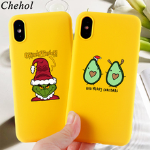 Funny Phone Cases for IPhone X XS MAX XR 8 7 6s Plus Christmas Frog Avocado Case Soft Silicone Fitted  Back Covers Accessories