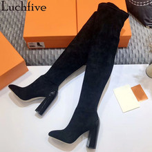 Women's Boots Runway Chunky High-Heels Toe-Shoes Black Pointy Woman Elastic Sapatos-Feminina