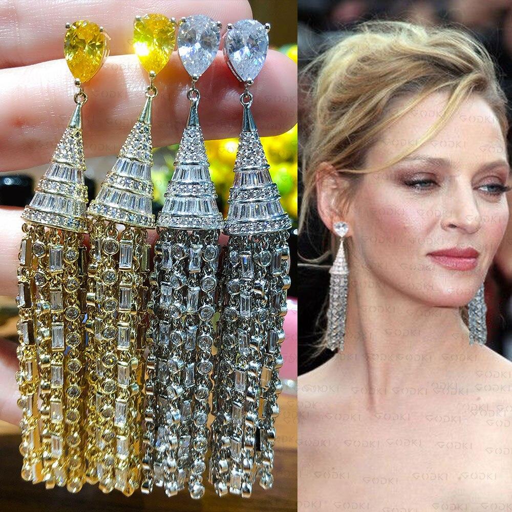 GODKI 2020 Long Tassel Russian Bridal Earrings For Women Weeding Luxury Bagutte Cut Cubic Zircon Statement Earrings For Women
