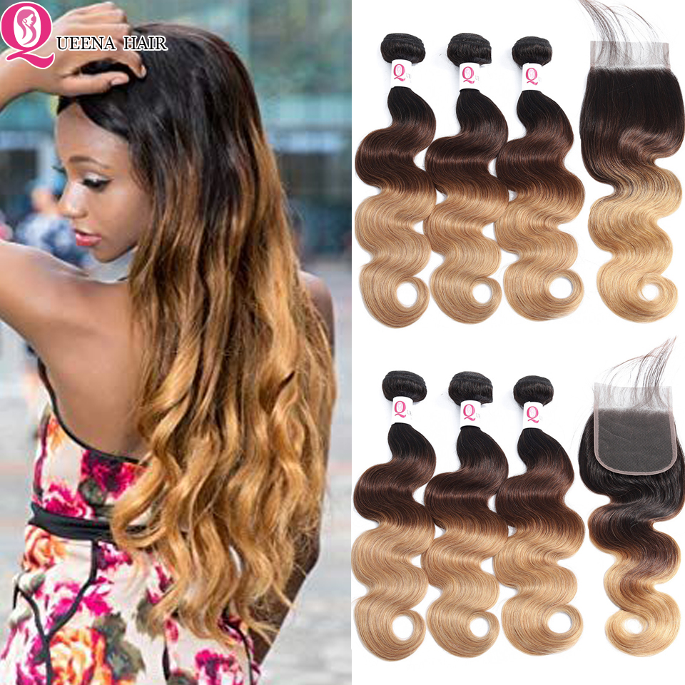 Ombre Bundles With Closure T1B/4/27 Body Wave Bundles With Closure Cheap Honey Human Hair Brazilian Weave Wavy Bundles Remy