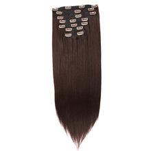 Beauty On Line Synthetic Clip in Hair Extensions Light Brown Double Weft Straight Wave 7 Pieces/Lot 24Inches(China)