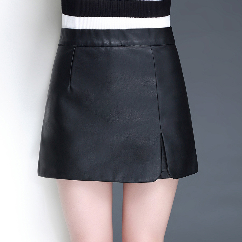 Leather Shorts Female 2019 Korean Version Of The New Wash PU Wide Leg  Slim Thin High Waist New Front Split Skirt