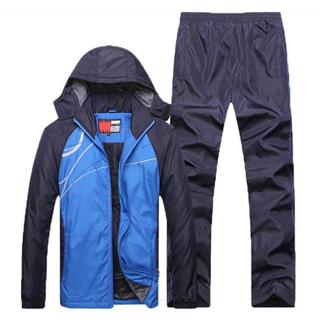 Novos conjuntos de inverno além de veludo masculino ternos do esporte conjunto de fitness treino quente zip bolso casual terno roupas masculinas