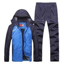 Yeni kış setleri artı kadife erkek spor takımları spor giyim seti spor sıcak eşofman Zip cep günlük giysi erkek giyim