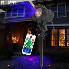 ALIEN Remote 8 Patterns Red Blue Outdoor Laser Lights RB Effect Projector Christmas Lighting Waterproof Garden Xmas Tree Light