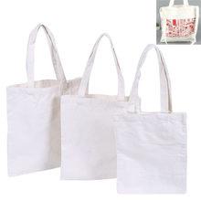 1PC Cremoso Branco/Natural Parte Superior Do Ombro Tote Shopper Saco de Compras Da Lona de Algodão Liso