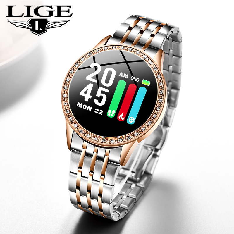 LIGE New Smart Watch Lady IP67 Waterproof Heart Rate Blood Pressure Monitoring Bluetooth Android IOS Fitness Tracker Smartwatch