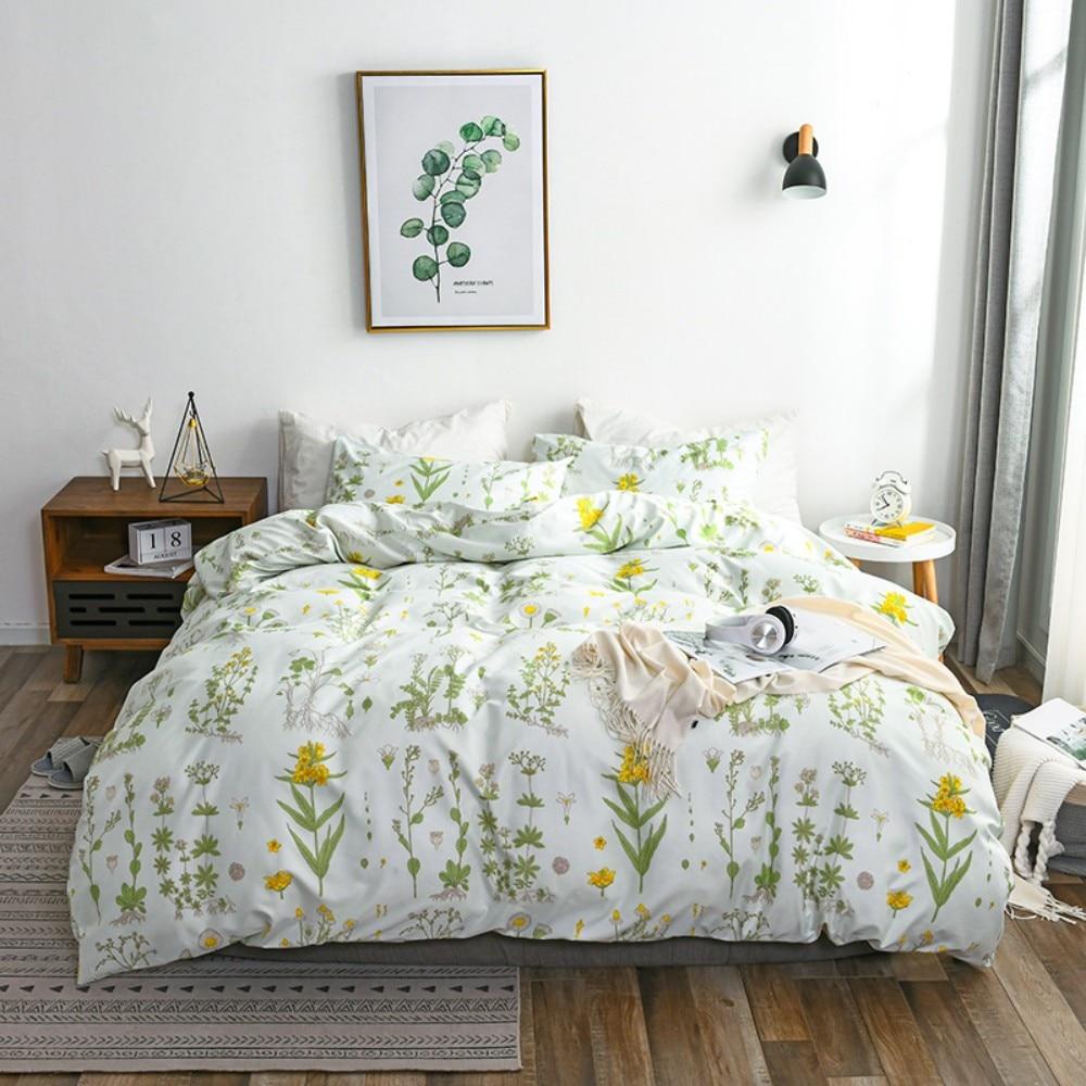 Floral Duvet Cover Sets Leaf Bedding Set Branches Print Comforter Cover Set Breathable Microfiber for Kids