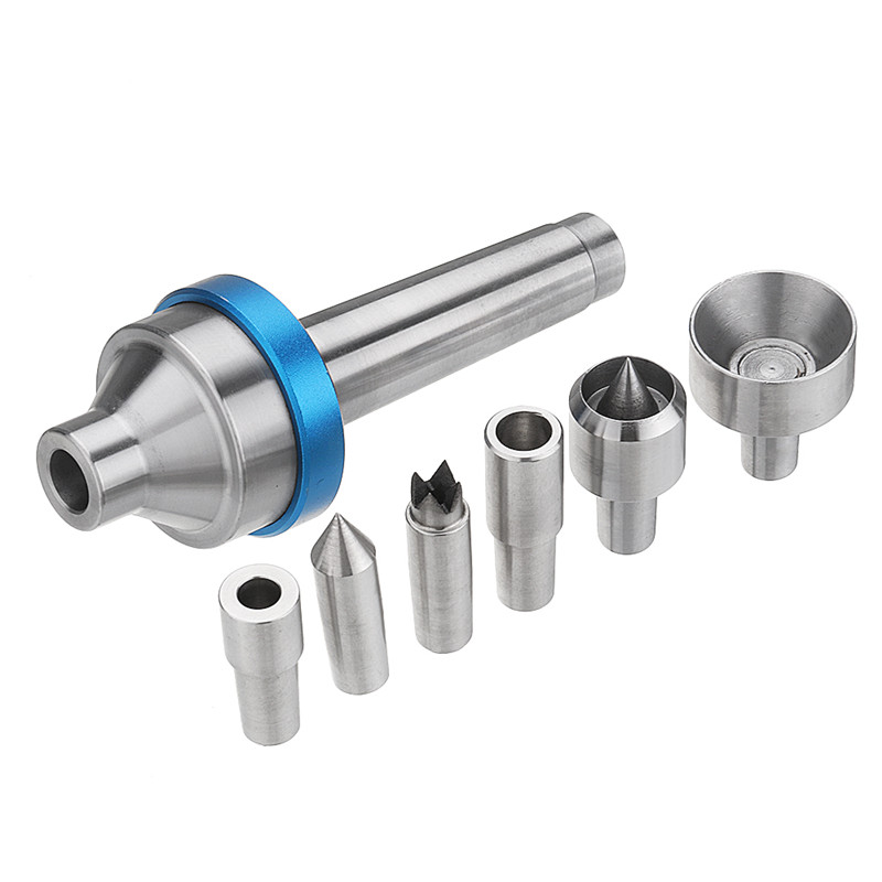 Woodworking Interchangeable Live Center MT2 Morse Taper 2 Shank with 6pcs Interchangeable Live Center Points Wood Lathe Tool
