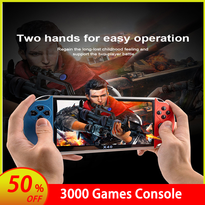 Christmas 7-inch  X40 Retro Double Player Video Game Console Portable Handheld Game Console For GBA / NES 3000 Games