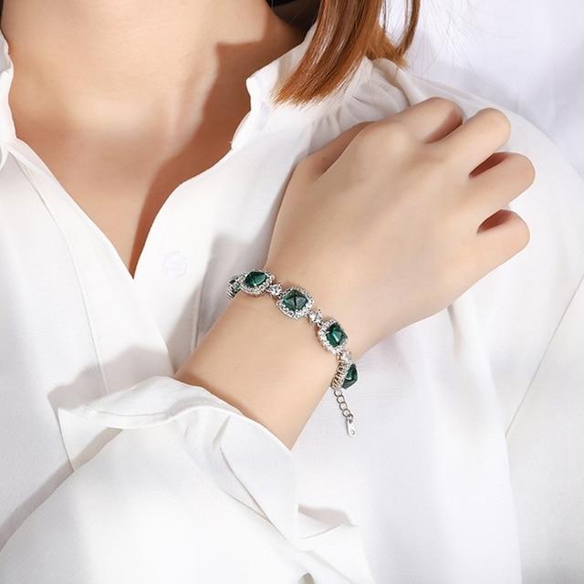 Shipei 100% 925 Sterling Silver Emerald Ruby Sapphire Created Moissanite Gemstone Fine Jewelry Bohemian Charm Bracelets Bangle 3