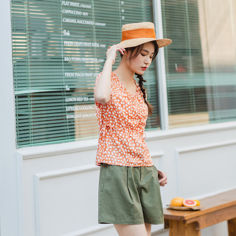 INMAN 2020 Summer New Arrival Short Sleeve Lace O-neck Shivering Thin Bowknot All-match Blouse