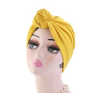 Image 4 - 이슬람 turban 비니 모자 매듭이 달린 탄성 머리 랩 캡 여성 chemo arab caps pleated 이슬람 탈모 모자 chemo cap bonnet new