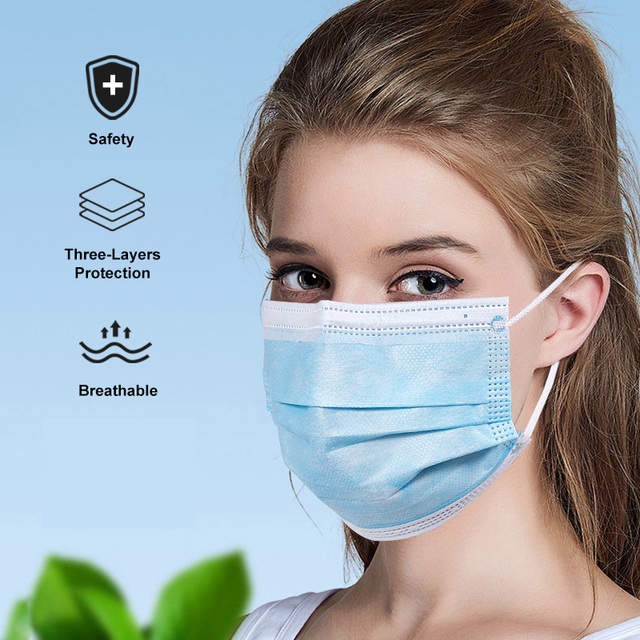 50 PCS/LOT Face Mouth Mask Disposable 3 Layers Health Care White Facial Protective Masks Blue 5