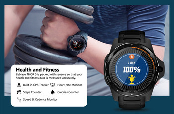 Multifunction Watch Zeblaze Thor 5 1.39 in AMOLED Pedometer Heart Rate Monitor GPS BT4.0 Smart montre connectee homme Z4