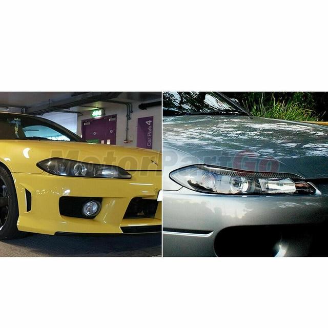 Real Crabon Fiber Head light Eyelid Eyebrow Cover Trim 1pair for  Nissan 200SX Silvia S15  1999-2004 T215 4