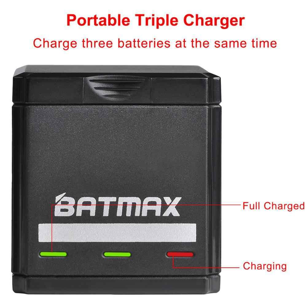 Batmax para GoPro héroe 8 7 6 5 de 1600mAh de la batería + USB Triple cargador tipo C para GoPro héroe 8 GoPro 7 6 5 negro Akku cámaras